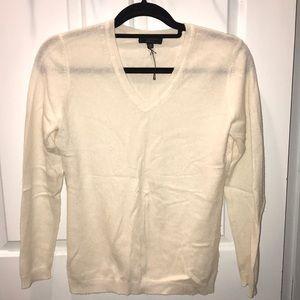 Ivory Cashmere V-Neck Sweater